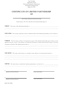Certificate Of Limited Partnership - New York Division Of Corporations