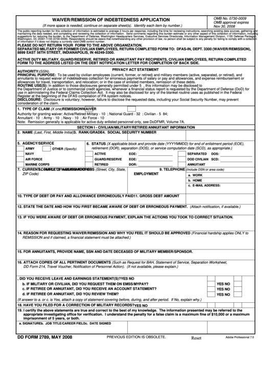Fillable Dd Form 2789 Waiver Remission Of Indebtedness