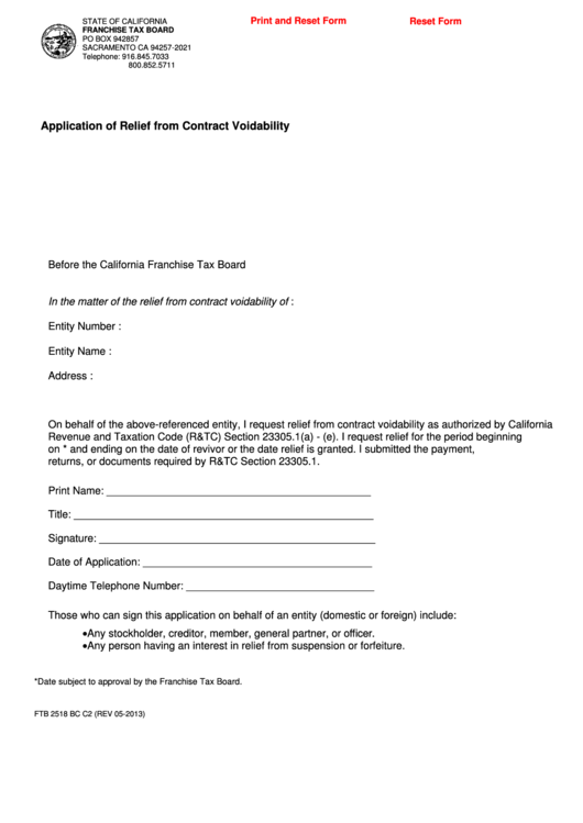 Fillable Form Ftb 2518 Bc - Application Of Relief From Contract Voidability Printable pdf