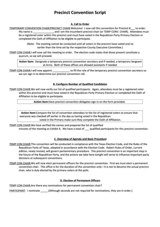Precinct Convention Script Template
