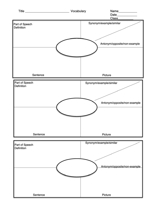 Blank Vocabulary Template Three On A Page Printable Pdf