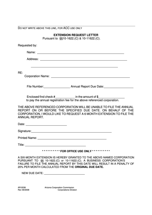 Form Ar:0038 - Extension Request Letter printable pdf download