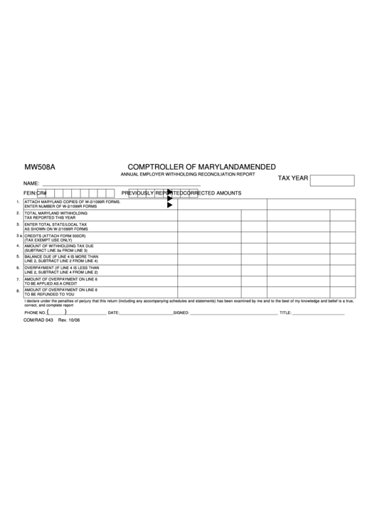Form Mw508a - Annual Employer Withholding Reconciliation Report Form Printable pdf
