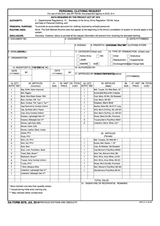 Da Form 3078 Personal Clothing Request printable pdf download