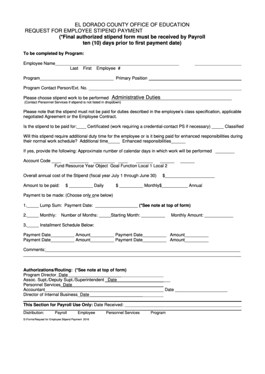 Fillable Request For Employee Stipend Payment Form - El Dorado County Office Of Education Printable pdf