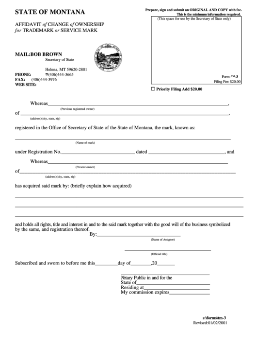 Form Tm-3 - Affidavit Of Change Of Ownership For Trademark Or Service Mark Form - State Of Montana - Secretary Of State Printable pdf