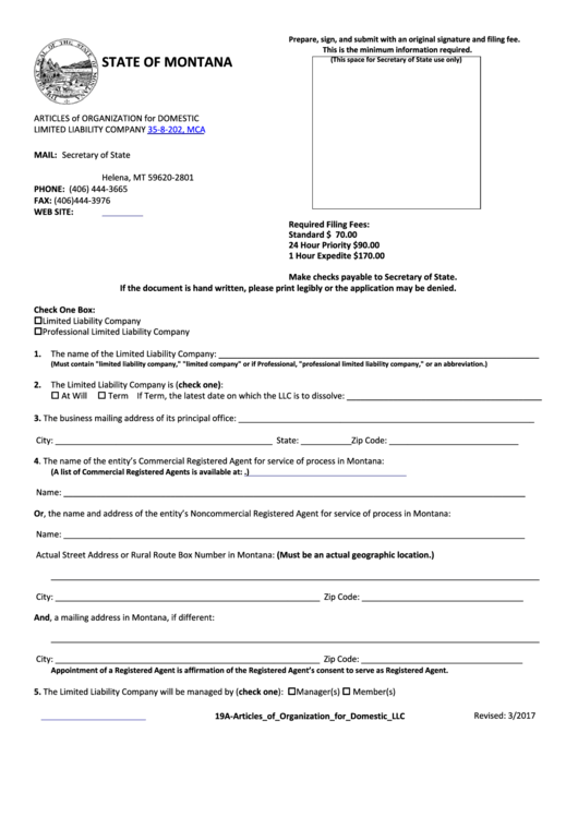 Articles Of Organization For Domestic Limited Liability Company Form - Montana Secretary Of State