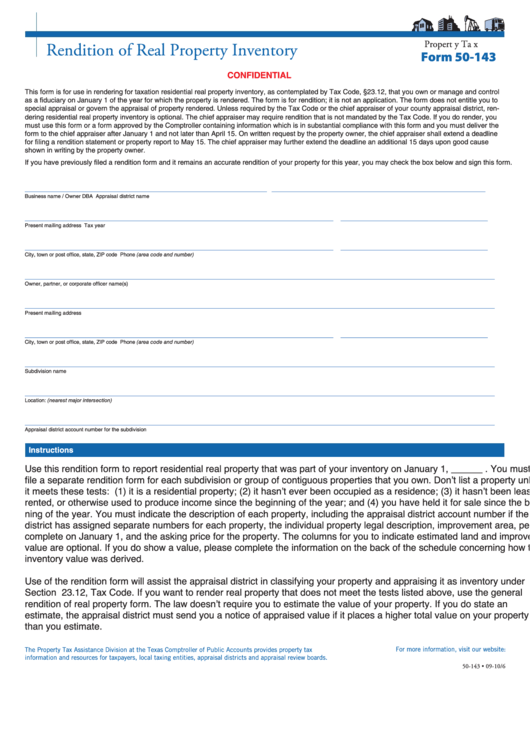 Form 50-143 - Rendition Of Real Property Inventory - Texas ...