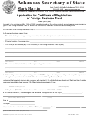 Form Fbt-01 - Application Form For Certificate Of Registration Of Foreign Business Trust - Arkansas Secretary Of State