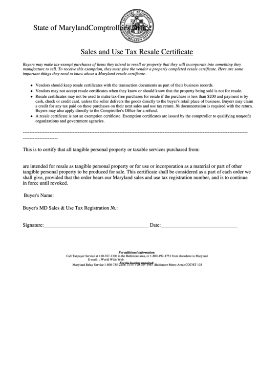certificate resale tax sales maryland template state comptroller office pdf printable