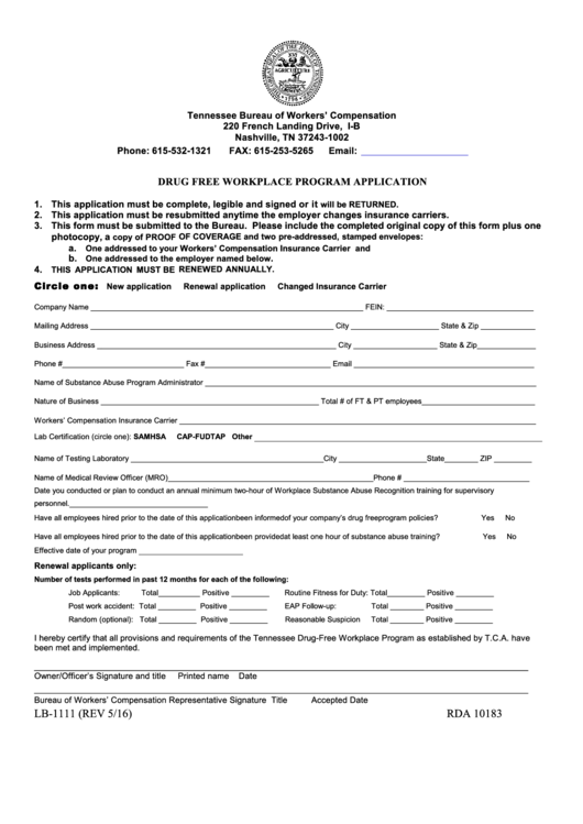 Form lb 1111 drug free workplace program application for Drug free workplace policy template