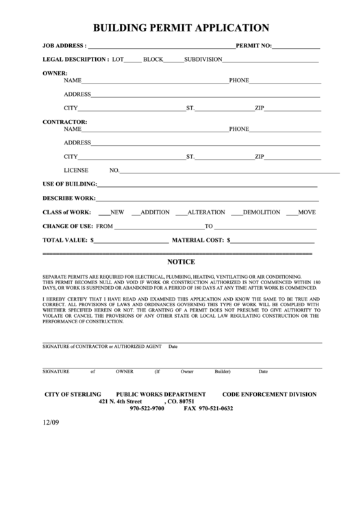 Building Permit Application Form Printable Pdf Download