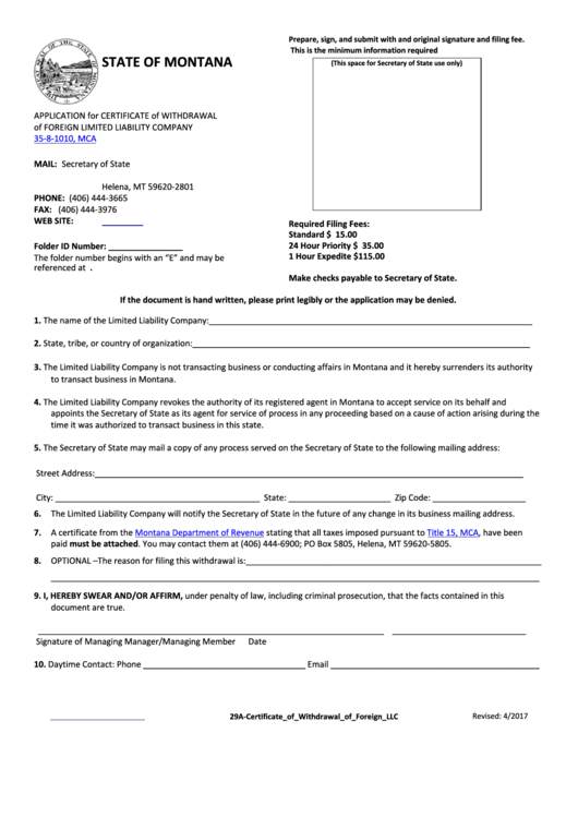 Form 29a - Application For Certificate Of Withdrawal Of Foreign Limited Liability Company 35-8-1010, Mca