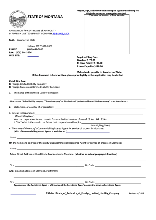 Application For Certificate Of Authority Of Foreign Limited Liability Company Form
