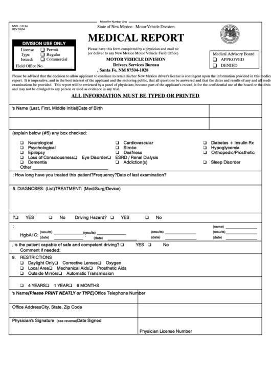 Form mvd 10124 medical report motor vehicle division for Motor vehicle division santa fe