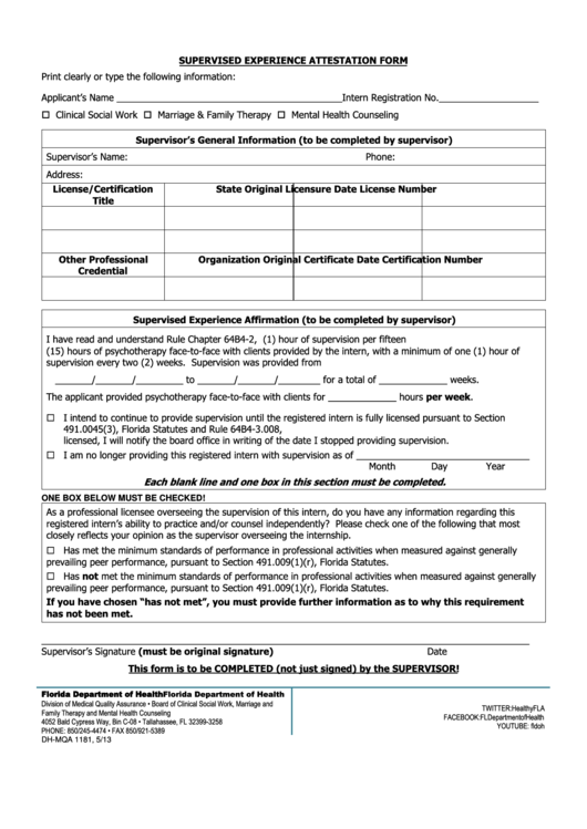 supervised experience attestation form-fall 2013