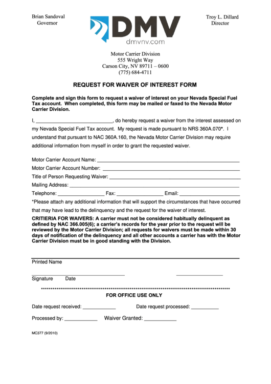 Fillable Form Mc 377 - Request For Waiver Of Interest Form - Motor Carrier Division Printable pdf