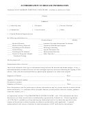 Authorization To Release Information Form