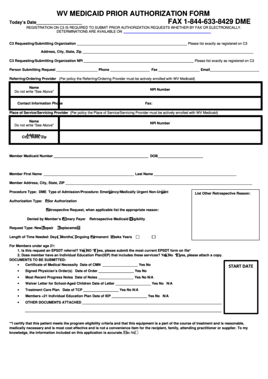 Wv Medicaid Dme Prior Authorization Request Form Dme