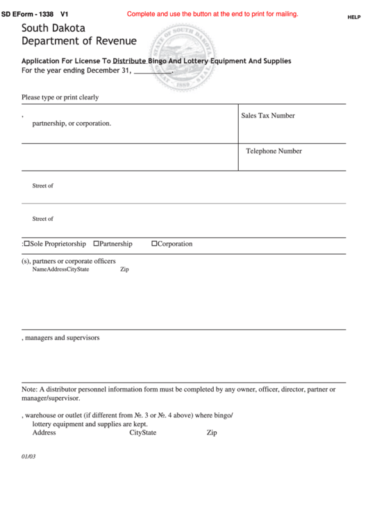 Fillable Sd Eform 1338 - Application For License To Distribute Bingo And Lottery Equipment And Supplies - South Dakota Department Of Revenue Printable pdf