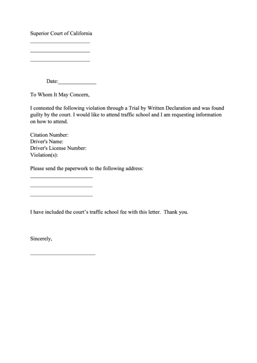 Traffic School Request Form