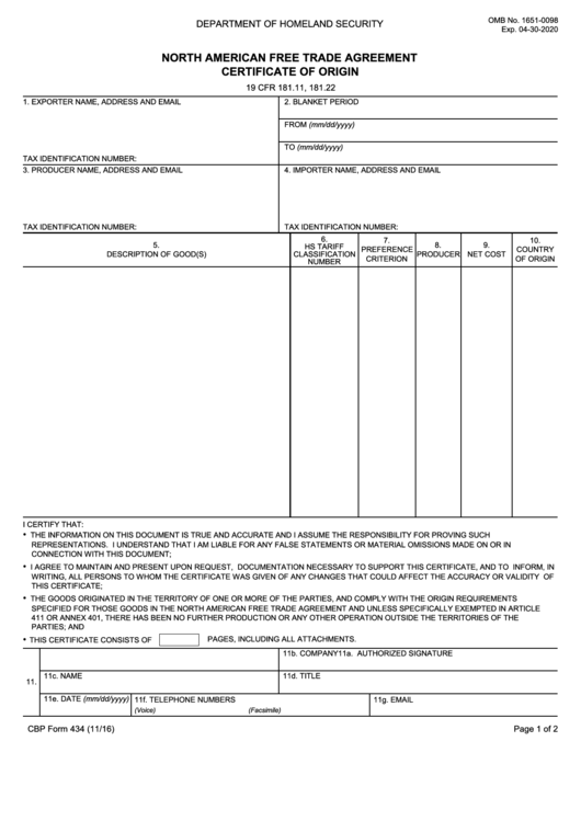 Fillable Cbp Form 434 North American Free Trade Agreement