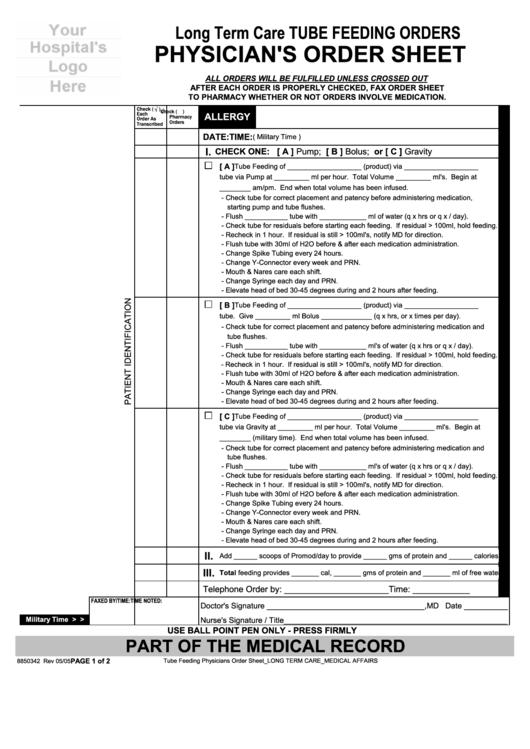 long term care tube fe order trackereding orders