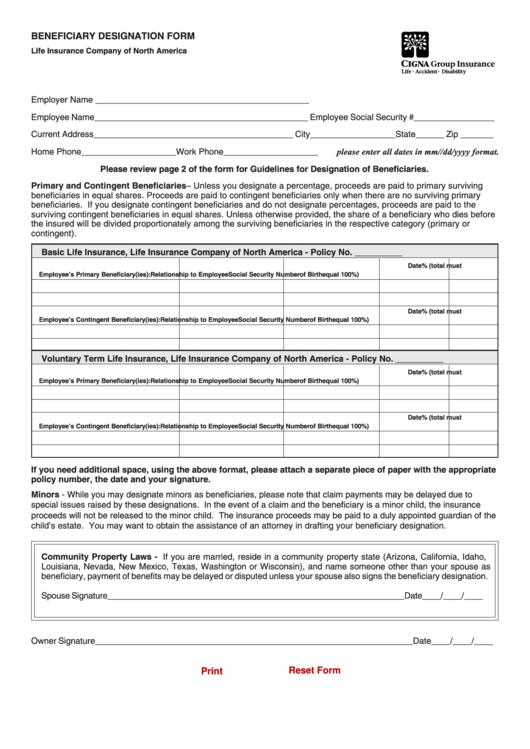 Fillable Cigna Beneficiary Designation Form - Life ...