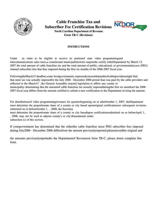 North Carolina Department Of Revenue Form Tr-C (Revisions) Printable pdf