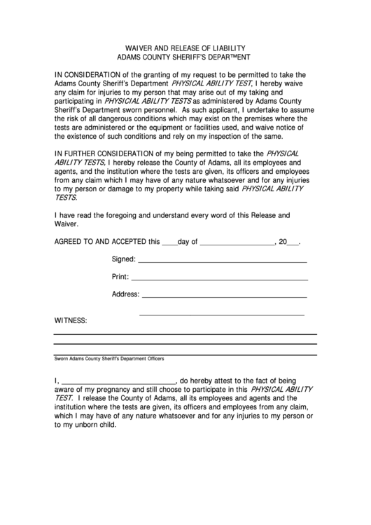 Ca Dmv Release Of Liability >> Waiver And Release Of Liability Form - Adams County Sheriff'S Department printable pdf download