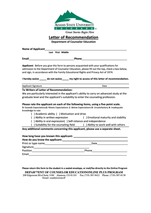 Letter Of Recommendation Form - Department Of Counselor Education Printable pdf