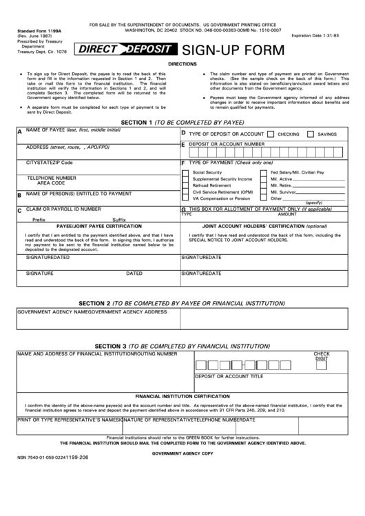 Form 1199a - Direct Deposit Sign-Up Form Printable pdf