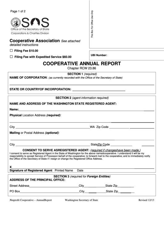 Form Cooperative Annual Report - Washington Secretary Of State - 2013