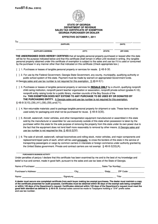 Fillable Form St 5 Sales Tax Certificate Of Exemption Georgia