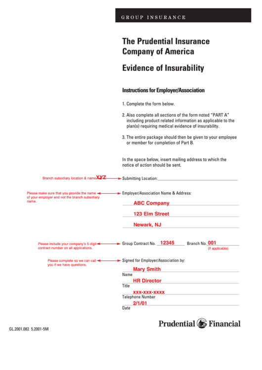 Sample Evidence Of Insurability Form Printable pdf