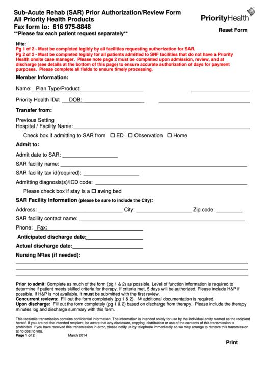 Sub-acute Rehab (sar) Prior Authorization Form - Priority Health ...