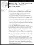 Application For Reimbursement From The Homeowners Recovery Fund Form