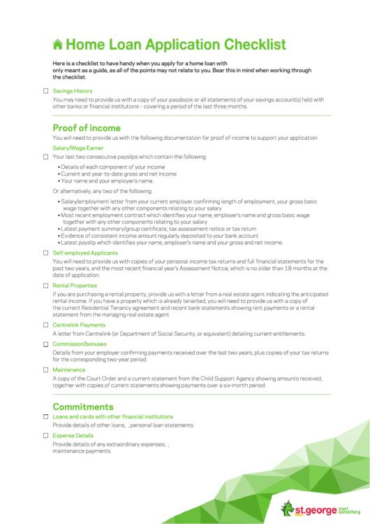 Home Loan Application Checklist Template