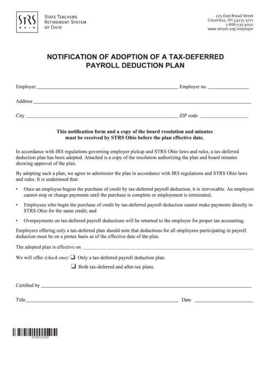 Notice Of Adoption Of A Tax-deferred Payroll Deduction Plan Form - Strs Ohio
