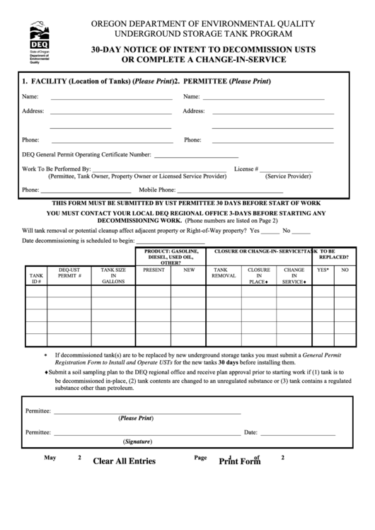30-day Notice Form Of Intent To Decommission Usts Or Complete A Change-in-service
