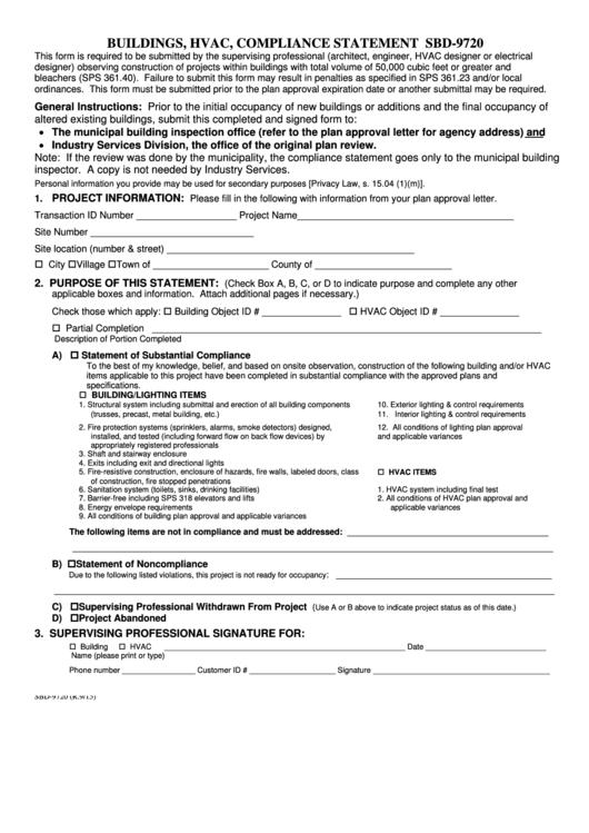 Form Sbd-9720 - Buildings, Hvac, Compliance Statement Printable pdf