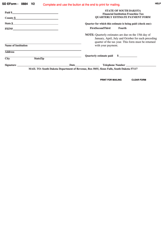 Fillable Form 0884 V2 - Quarterly Estimate Payment Form Printable pdf