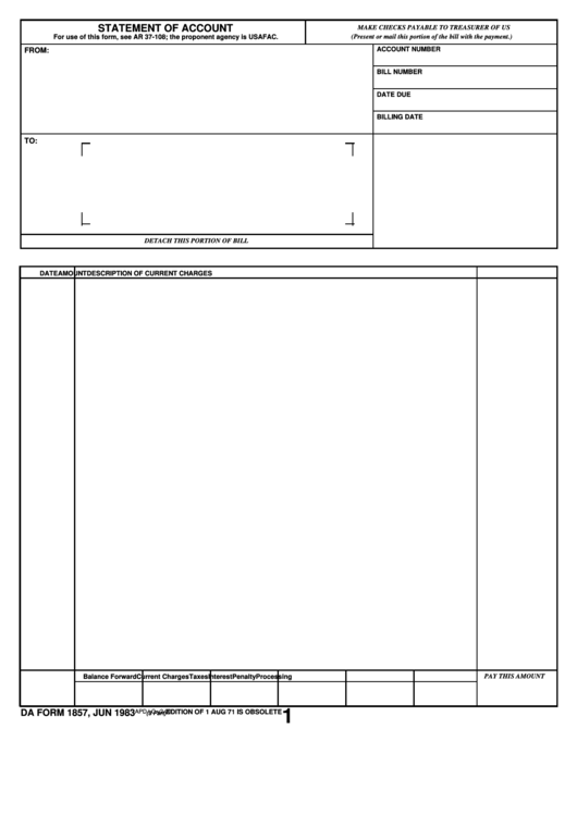 Fillable Da Form 1857 - Statement Of Account Printable pdf
