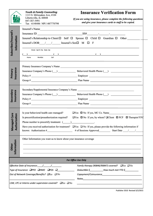 43 Insurance Verification Form Templates free to download ...