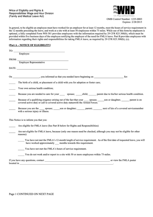 Form Wh-381 - Notice Of Eligibility And Rights & Responsibilities ...