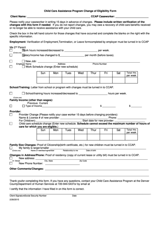 Child Care Assistance Program Change Of Eligibility Form Printable pdf