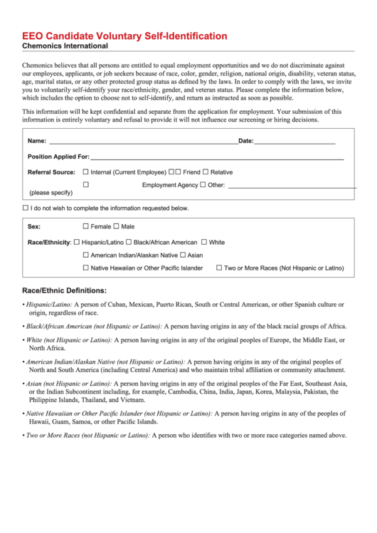 Fillable Eeo Candidate Voluntary Self-Identification Form Printable pdf