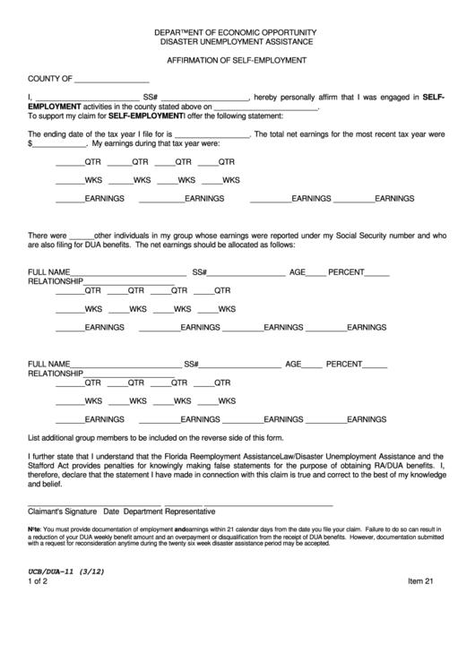 Form Ucb/dua-11 Affirmation Of Self-employment