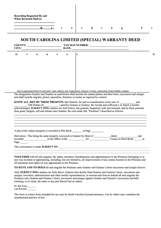 South Carolina Limited (Special) Warranty Deed printable pdf