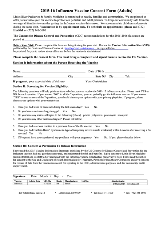 Influenza Vaccine Consent Form (adults) 2015-16 printable pdf download